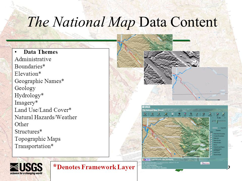 The National Map Data Content Data Themes Administrative Boundaries* Elevation* Geographic Names* Geology Hydrology* Imagery* Land Use/Land Cover* Natural Hazards/Weather Other Structures* Topographic Maps Transportation* * Denotes Framework Layer
