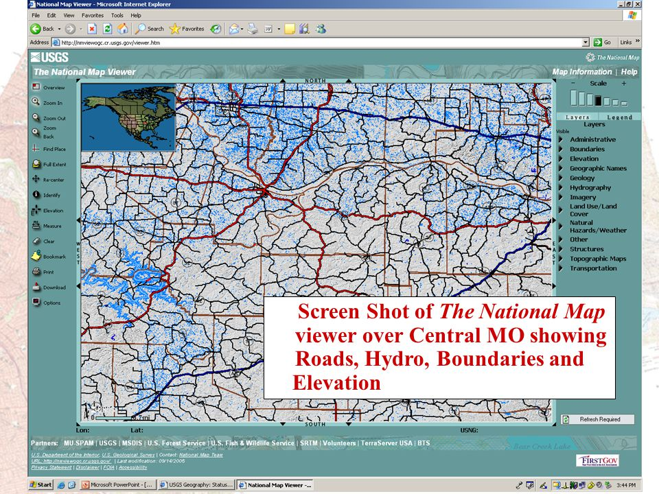 Screen Shot of The National Map viewer over Central MO showing Roads, Hydro, Boundaries and Elevation