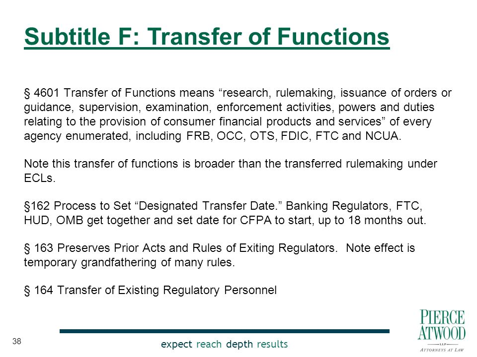 expect reach depth results § 4601 Transfer of Functions means research, rulemaking, issuance of orders or guidance, supervision, examination, enforcement activities, powers and duties relating to the provision of consumer financial products and services of every agency enumerated, including FRB, OCC, OTS, FDIC, FTC and NCUA.