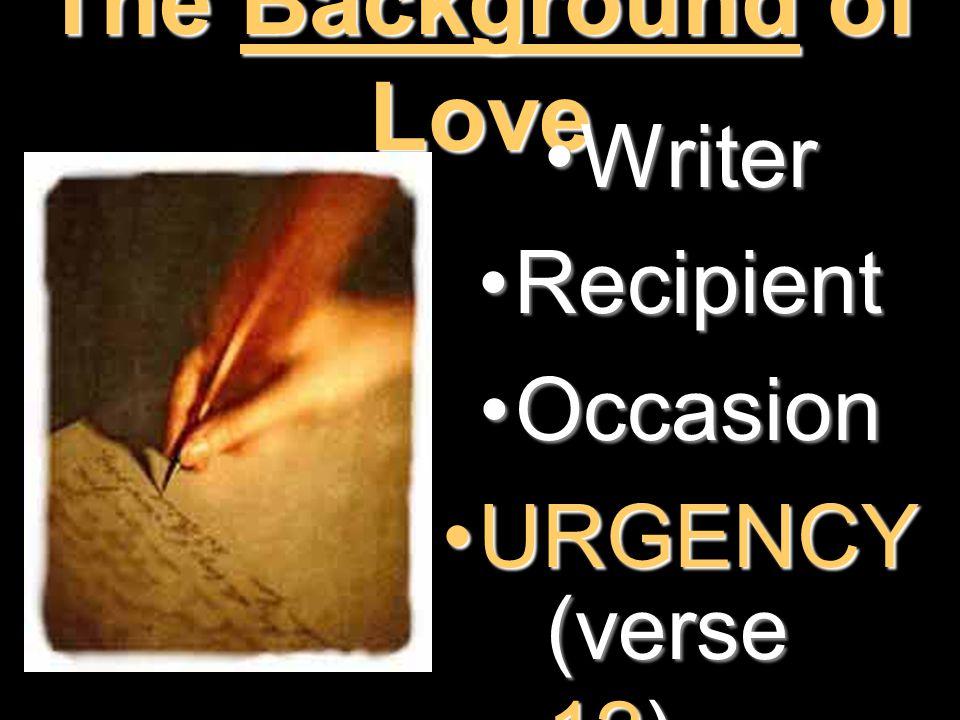 The Background of Love WriterWriter RecipientRecipient OccasionOccasion URGENCYURGENCY (verse 12)