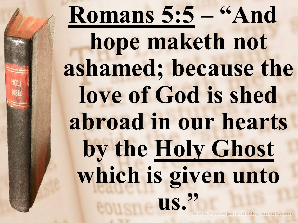 Romans 5:5 – And hope maketh not ashamed; because the love of God is shed abroad in our hearts by the Holy Ghost which is given unto us.