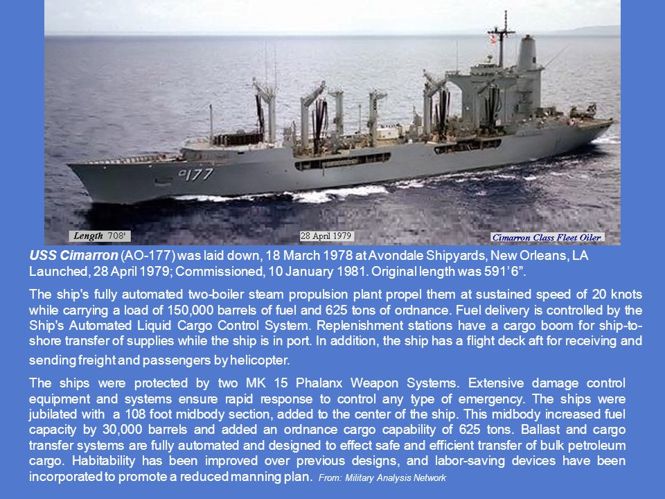 A multipurpose replenishment ships that operates independently or as a unit of a fast underway replenishment task group. Cargo space and underway tran