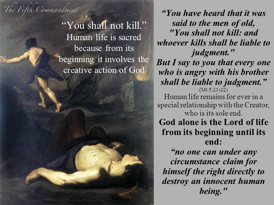 """""""You shall not kill."""" Human life is sacred because from its beginning it involves the creative action of God """"You have heard that it was said to the m"""