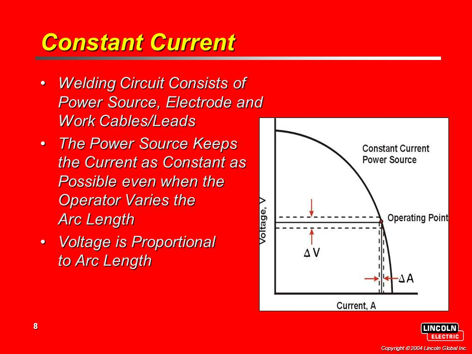 8 Copyright  2004 Lincoln Global Inc. Constant Current Welding Circuit Consists of Power Source, Electrode and Work Cables/LeadsWelding Circuit Consi