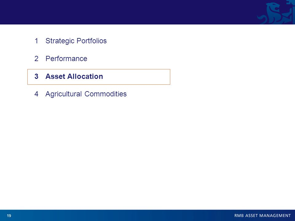19 1Strategic Portfolios 2Performance 3Asset Allocation 4Agricultural Commodities