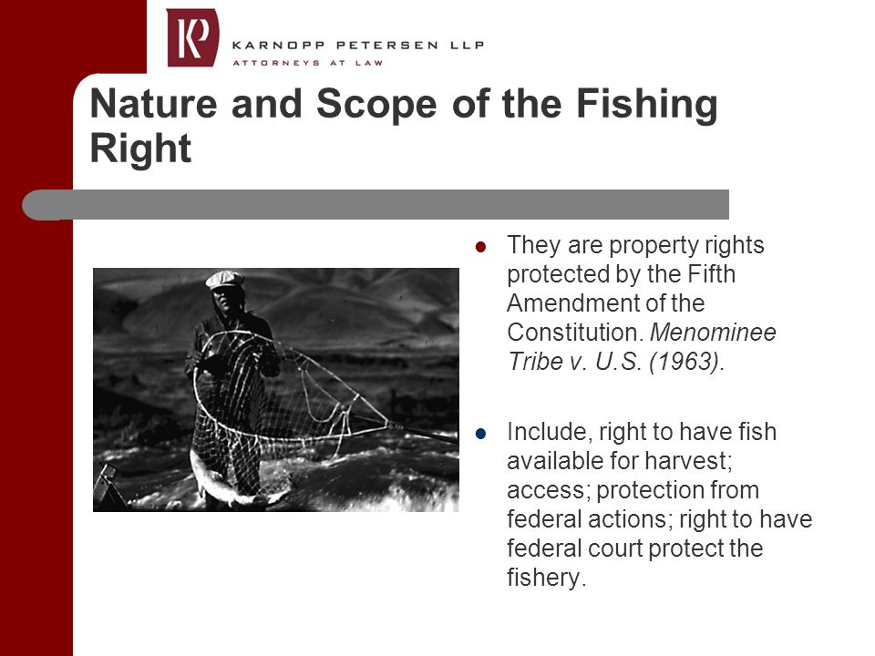 Nature and Scope of the Fishing Right They are property rights protected by the Fifth Amendment of the Constitution.