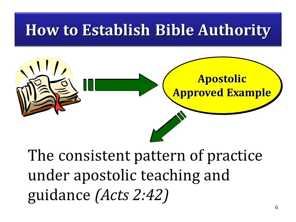 6 Apostolic Approved Example Apostolic The consistent pattern of practice under apostolic teaching and guidance (Acts 2:42) How to Establish Bible Authority