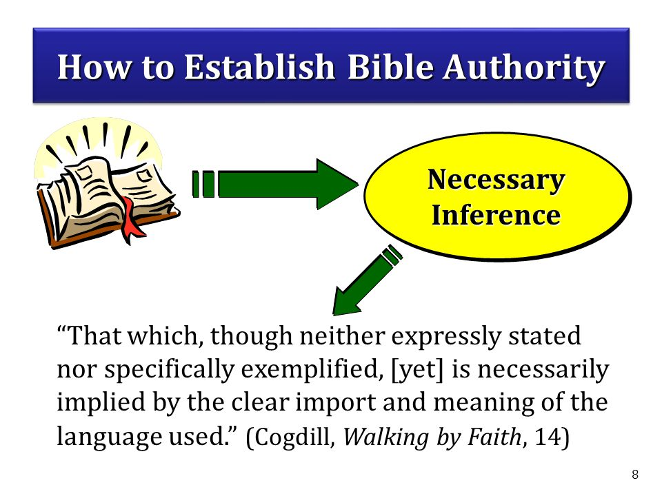8 NecessaryInferenceNecessaryInference That which, though neither expressly stated nor specifically exemplified, [yet] is necessarily implied by the clear import and meaning of the language used. (Cogdill, Walking by Faith, 14) How to Establish Bible Authority