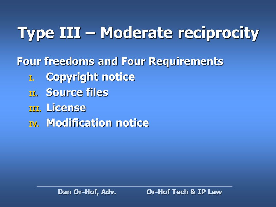 Type III – Moderate reciprocity Four freedoms and Four Requirements I.