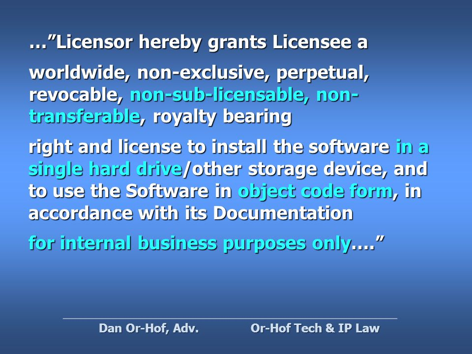 Type III – Moderate reciprocity Distribute under this license Or-Hof Tech & IP Law Dan Or-Hof, Adv.