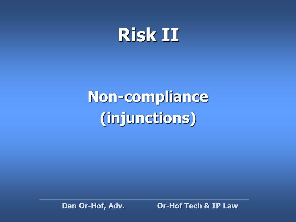 Risk II Non-compliance(injunctions) Or-Hof Tech & IP Law Dan Or-Hof, Adv.
