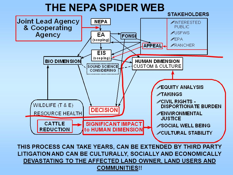 THE NEPA SPIDER WEB THIS PROCESS CAN TAKE YEARS, CAN BE EXTENDED BY THIRD PARTY LITIGATION AND CAN BE CULTURALLY, SOCIALLY AND ECONOMICALLY DEVASTATING TO THE AFFECTED LAND OWNER, LAND USERS AND COMMUNITIES!.