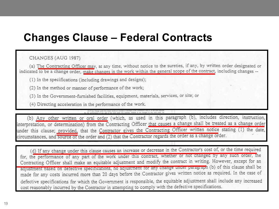 19 Changes Clause – Federal Contracts 19
