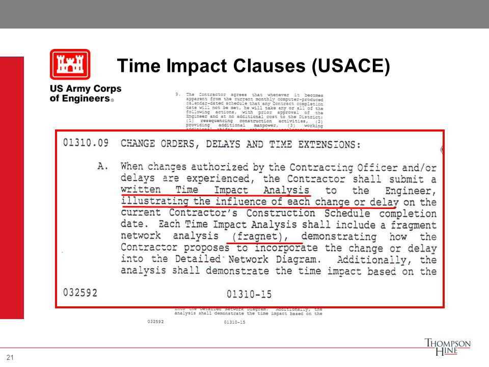 21 Time Impact Clauses (USACE) 21