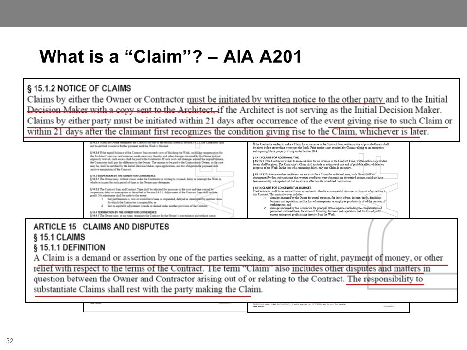 32 What is a Claim ? – AIA A201 32