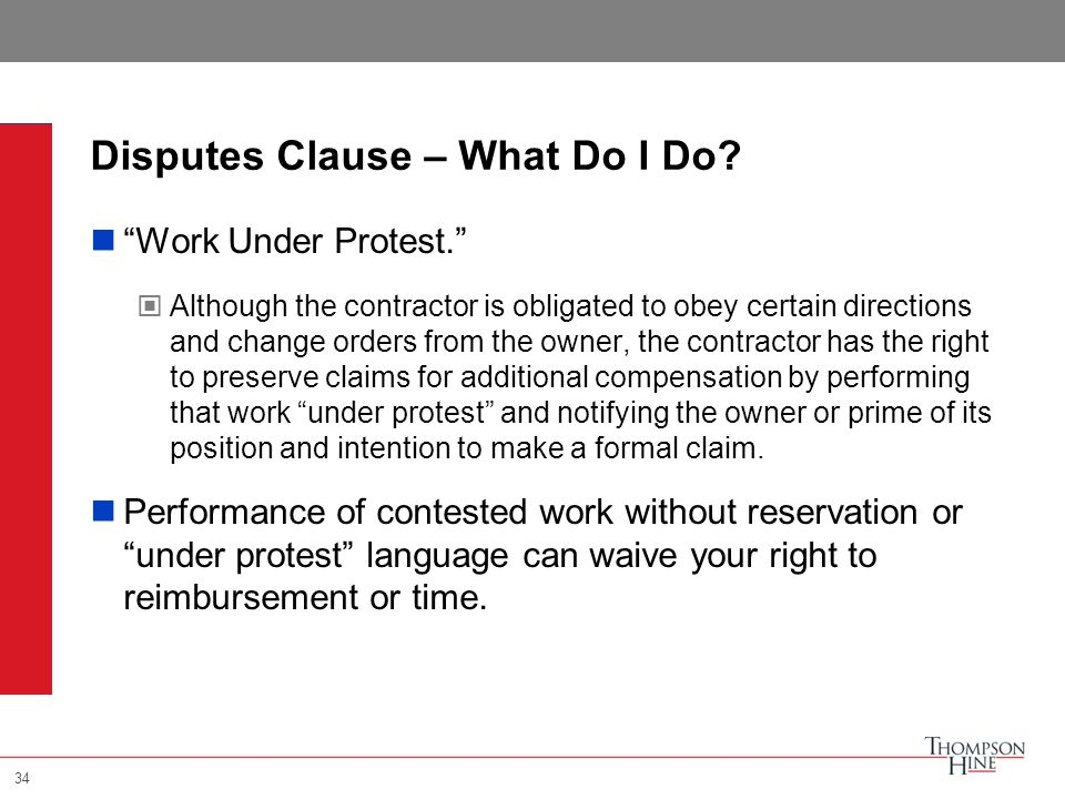 34 Disputes Clause – What Do I Do.
