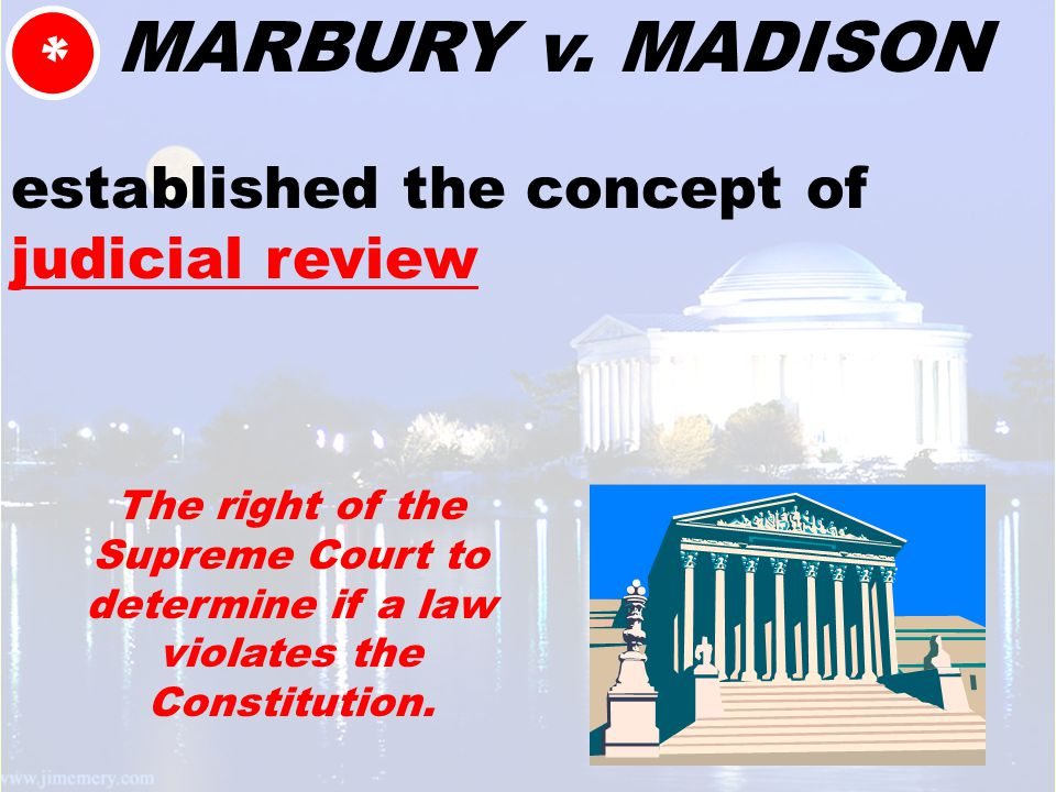 MARBURY v. MADISON established the concept of judicial review * The right of the Supreme Court to determine if a law violates the Constitution.