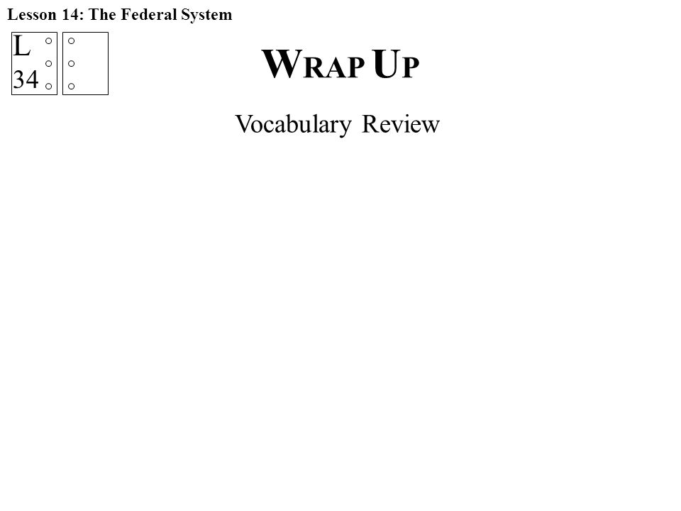 W RAP U P Lesson 14: The Federal System Vocabulary Review L 34