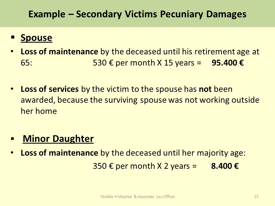 Example – Secondary Victims Pecuniary Damages  Spouse Loss of maintenance by the deceased until his retirement age at 65: 530 € per month X 15 years = 95.400 € Loss of services by the victim to the spouse has not been awarded, because the surviving spouse was not working outside her home  Minor Daughter Loss of maintenance by the deceased until her majority age: 350 € per month X 2 years = 8.400 € Pavlakis Moschos & Associates Law Offices15