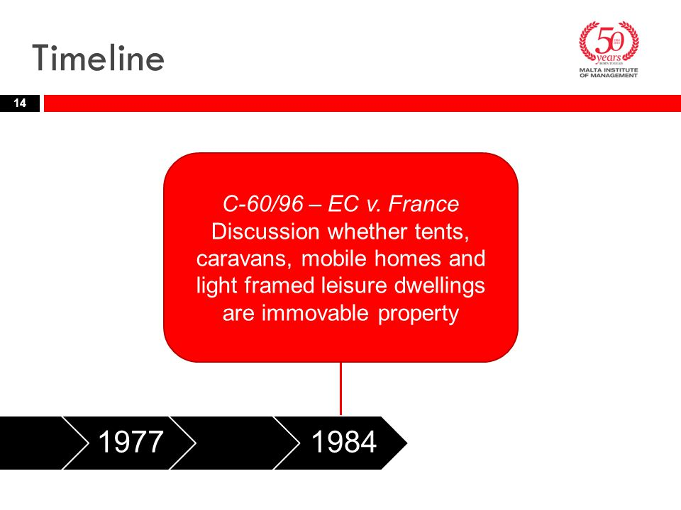 Timeline 14 197719841997 C-60/96 – EC v. France Discussion whether tents, caravans, mobile homes and light framed leisure dwellings are immovable prop