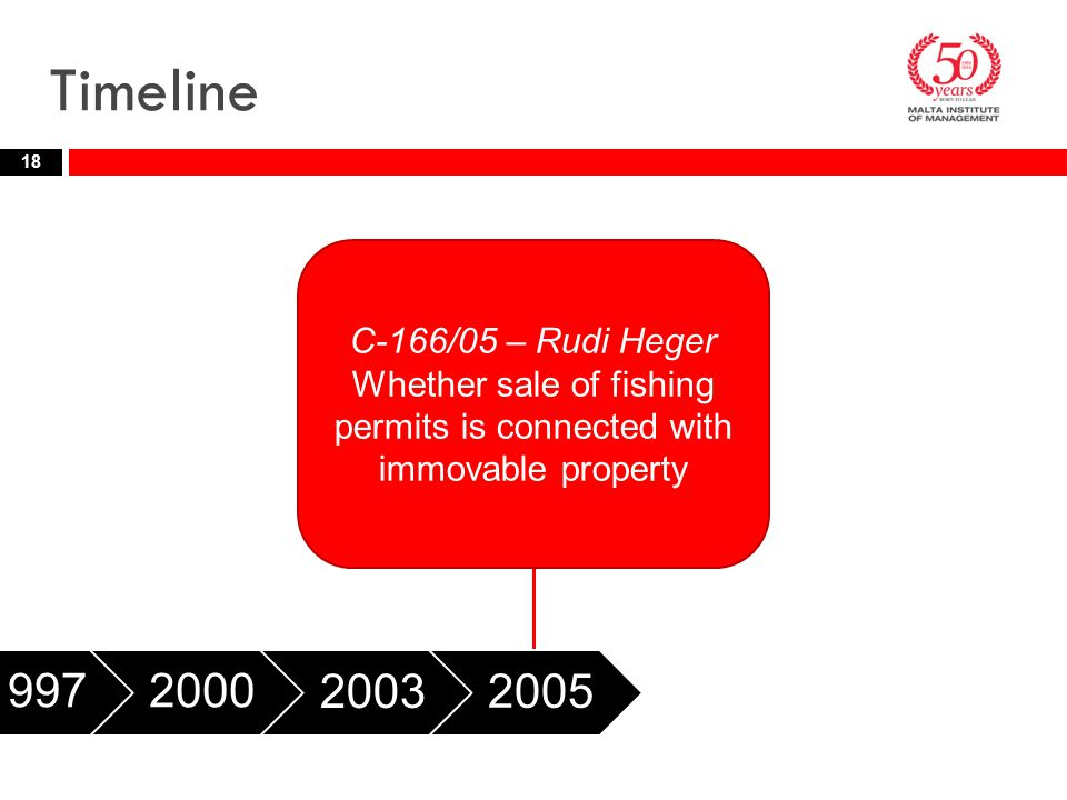 Timeline 18 19972000 2003 2005 2006 C-166/05 – Rudi Heger Whether sale of fishing permits is connected with immovable property
