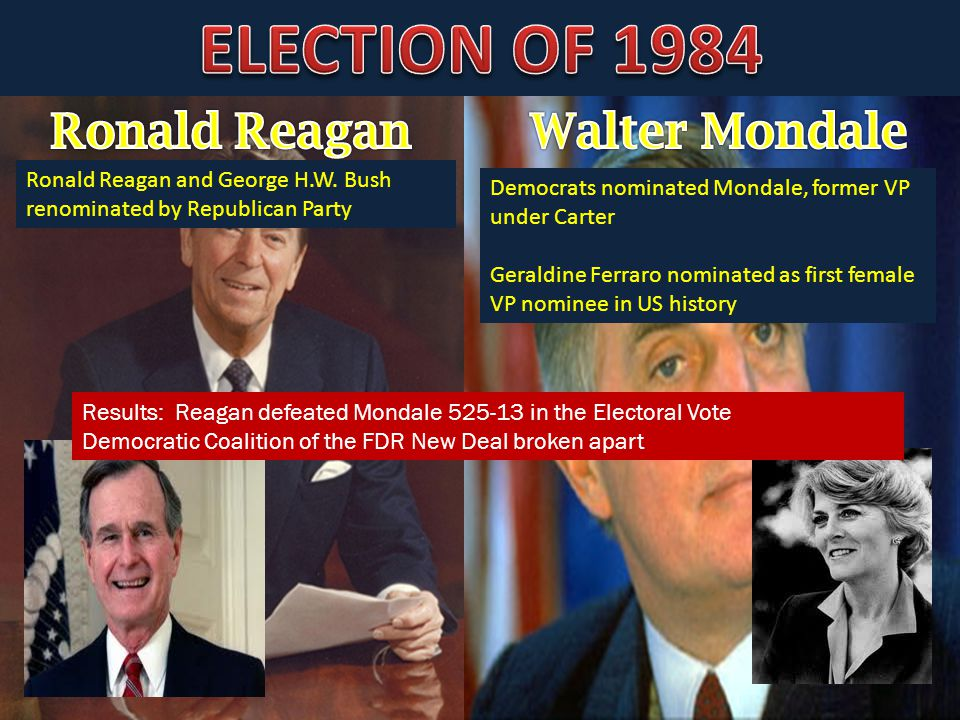 Democrats nominated Mondale, former VP under Carter Geraldine Ferraro nominated as first female VP nominee in US history Ronald Reagan and George H.W.