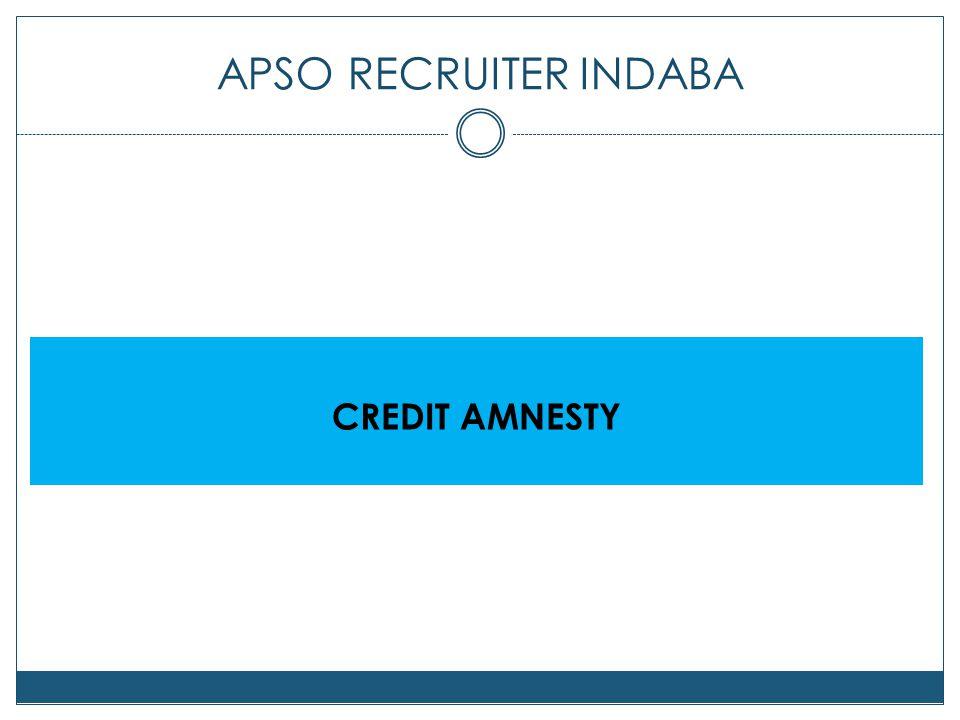 APSO RECRUITER INDABA CREDIT AMNESTY