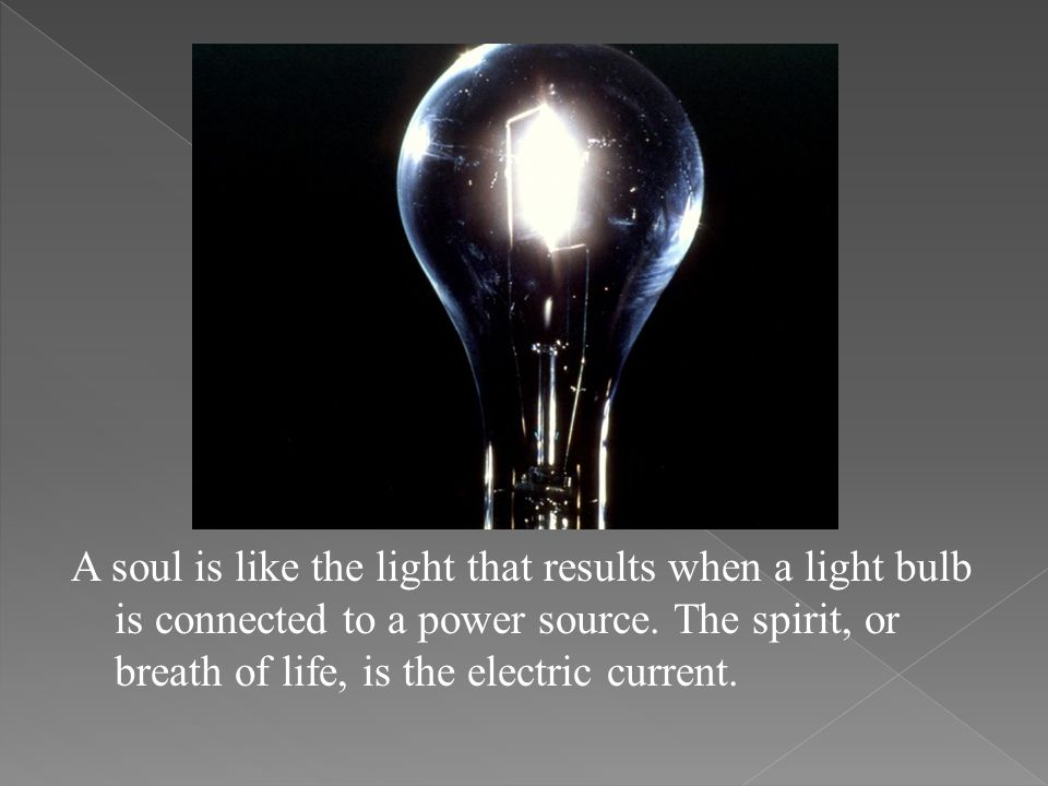 A soul is like the light that results when a light bulb is connected to a power source.