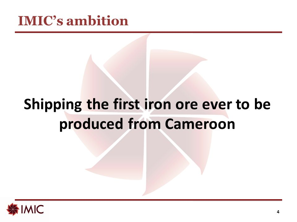 IMIC: overview  Innovative approach to unlock the value of iron ore in Africa, facilitating economic and social development  Infrastructure and offtake are at the forefront of our strategy  We work closely with major Chinese companies and other partners  Own four, high quality iron ore licences in Cameroon  Quoted on AIM market of London Stock Exchange 5