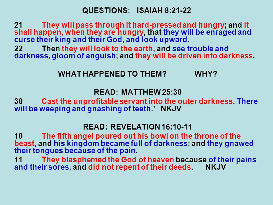 QUESTIONS:ISAIAH 8:21-22 21They will pass through it hard-pressed and hungry; and it shall happen, when they are hungry, that they will be enraged and
