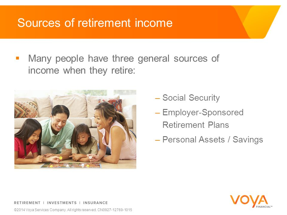 Do not put content on the brand signature area ©2014 Voya Services Company. All rights reserved. CN0927-12769-1015 Sources of retirement income  Many