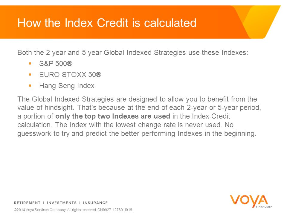 Do not put content on the brand signature area ©2014 Voya Services Company. All rights reserved. CN0927-12769-1015 How the Index Credit is calculated