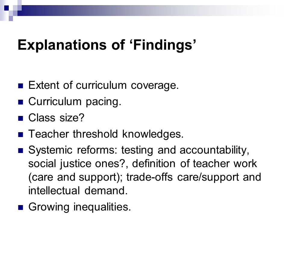 Explanations of 'Findings' Extent of curriculum coverage.