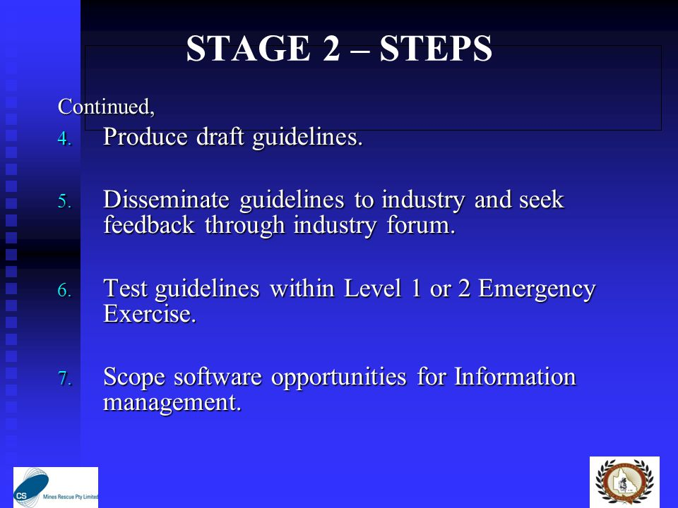 STAGE 2 – STEPS Continued, 4. Produce draft guidelines.