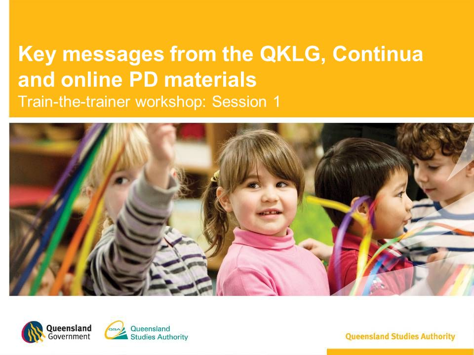 Module 1: Getting started Introduction to the Queensland kindergarten learning guideline Links to the EYLF and the NQS.