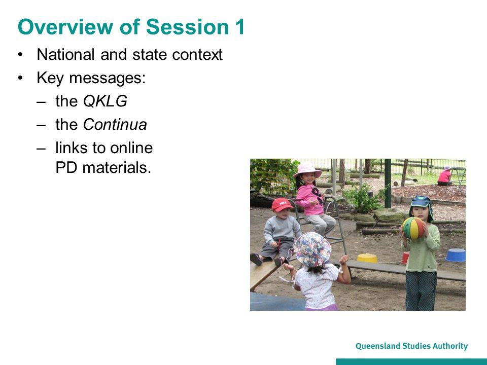 Overview of Session 1 National and state context Key messages: –the QKLG –the Continua –links to online PD materials.