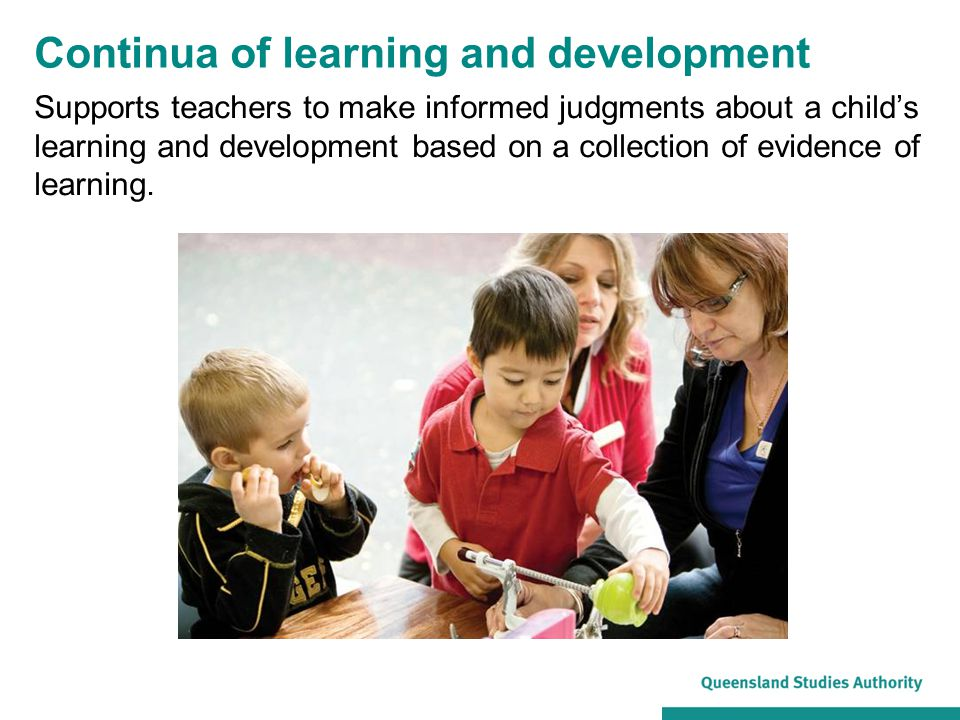 Supports teachers to make informed judgments about a child's learning and development based on a collection of evidence of learning.
