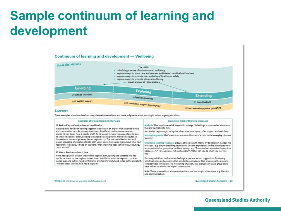Sample continuum of learning and development