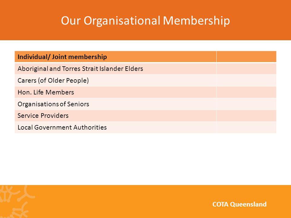 Individual/ Joint membership Aboriginal and Torres Strait Islander Elders Carers (of Older People) Hon.