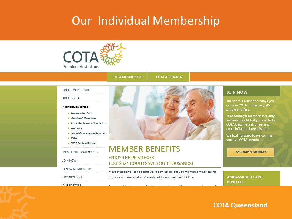 Our Individual Membership COTA Queensland
