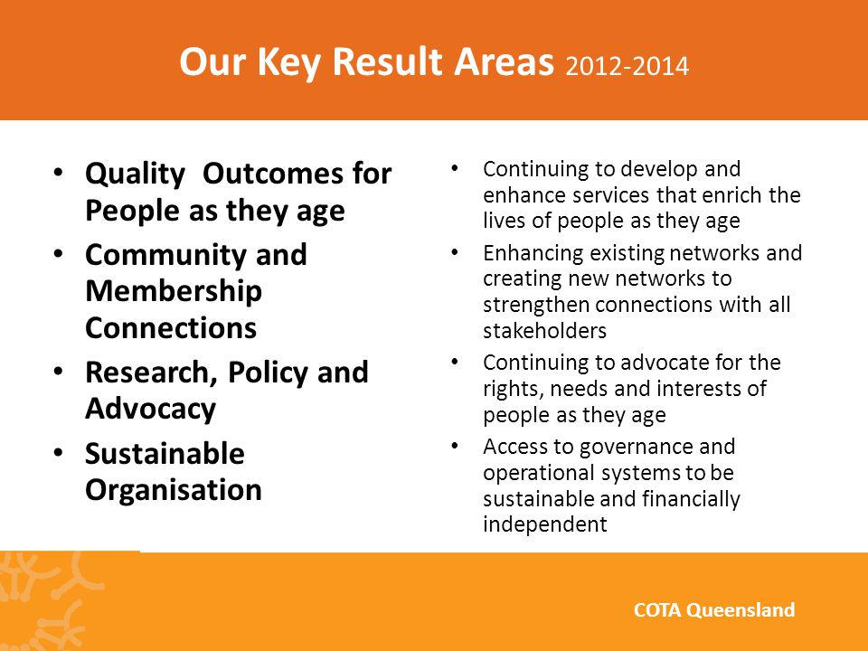 Quality Outcomes for People as they age Community and Membership Connections Research, Policy and Advocacy Sustainable Organisation Continuing to develop and enhance services that enrich the lives of people as they age Enhancing existing networks and creating new networks to strengthen connections with all stakeholders Continuing to advocate for the rights, needs and interests of people as they age Access to governance and operational systems to be sustainable and financially independent Our Key Result Areas 2012-2014 COTA Queensland