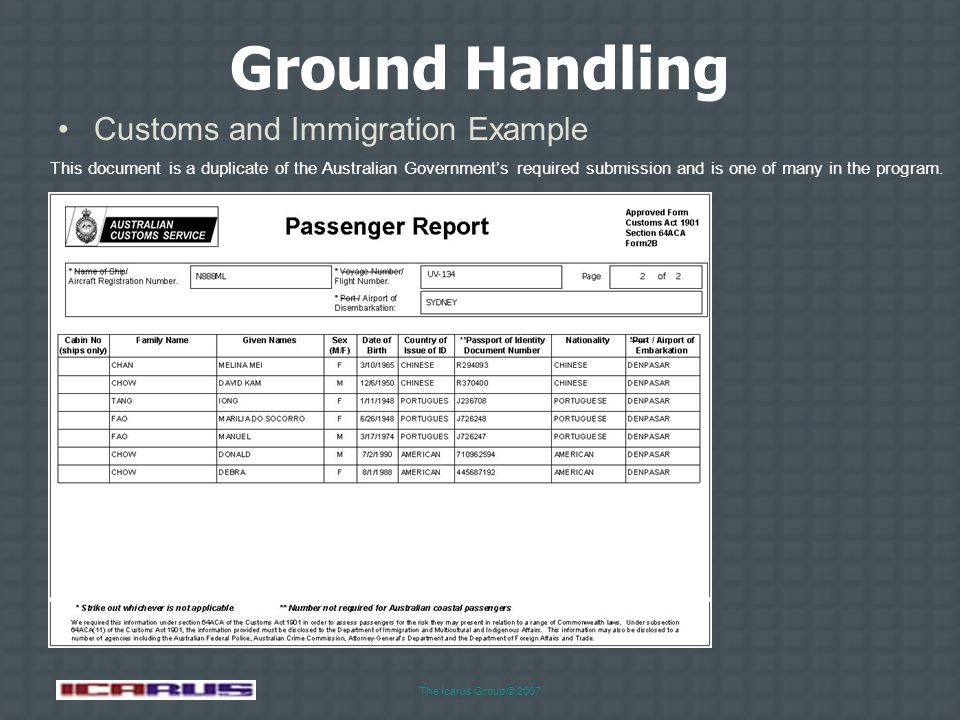 The Icarus Group © 2007 Ground Handling Fueling Request Example Spacebar or mouse to advance to next slide Agent will first tick the ground services f