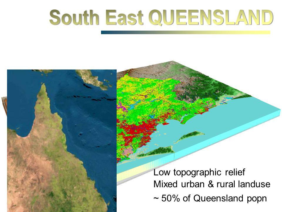 1000 km Brisbane Brisbane Noosa Gold Coast Toowoomba Mixed urban & rural landuse Low topographic relief ~ 50% of Queensland popn