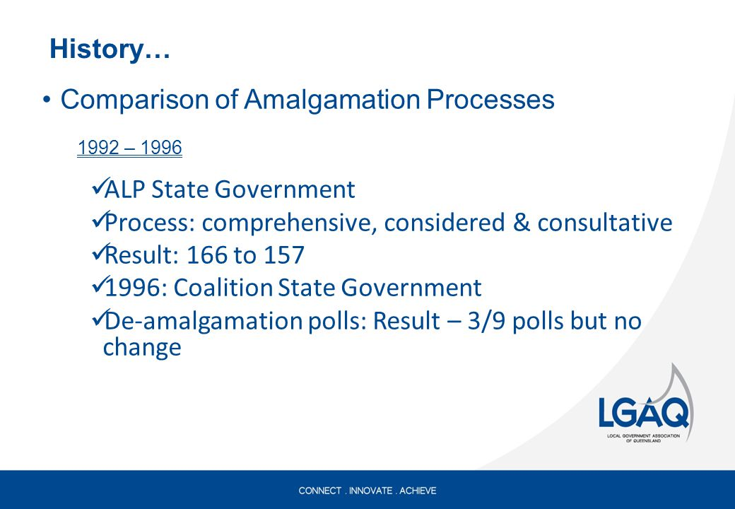 History… Comparison of Amalgamation Processes 1992 – 1996 ALP State Government Process: comprehensive, considered & consultative Result: 166 to 157 1996: Coalition State Government De-amalgamation polls: Result – 3/9 polls but no change