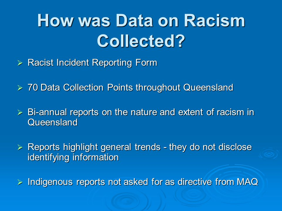 How was Data on Racism Collected.