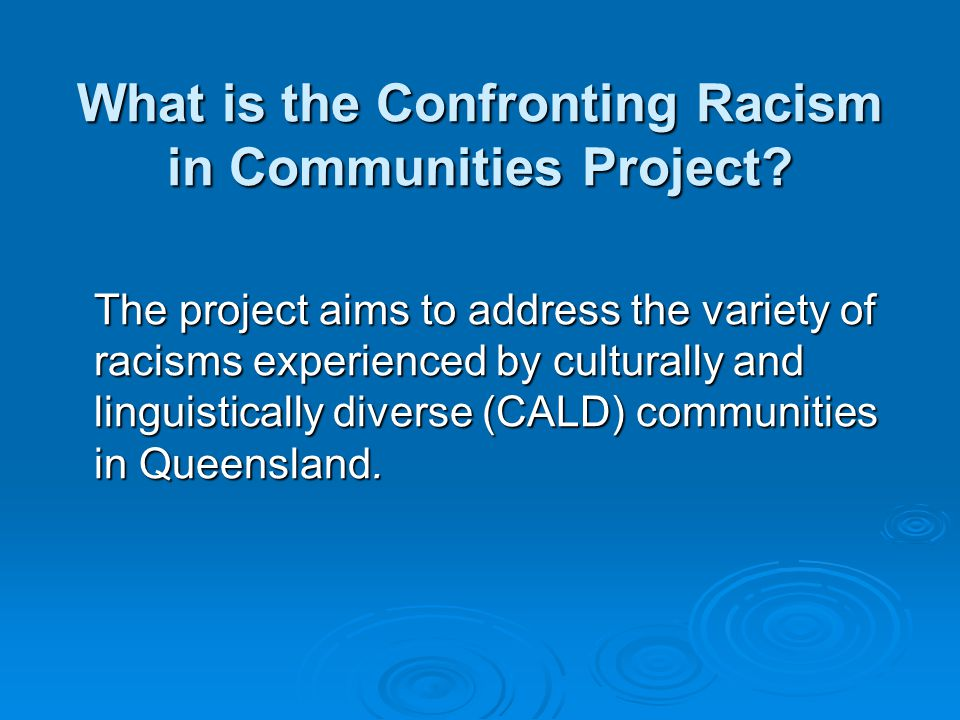 What is the Confronting Racism in Communities Project.
