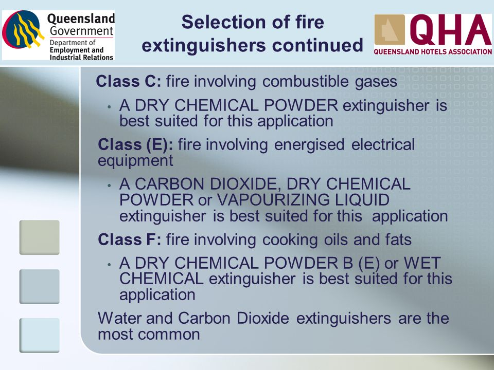 Class C: fire involving combustible gases A DRY CHEMICAL POWDER extinguisher is best suited for this application Class (E): fire involving energised e