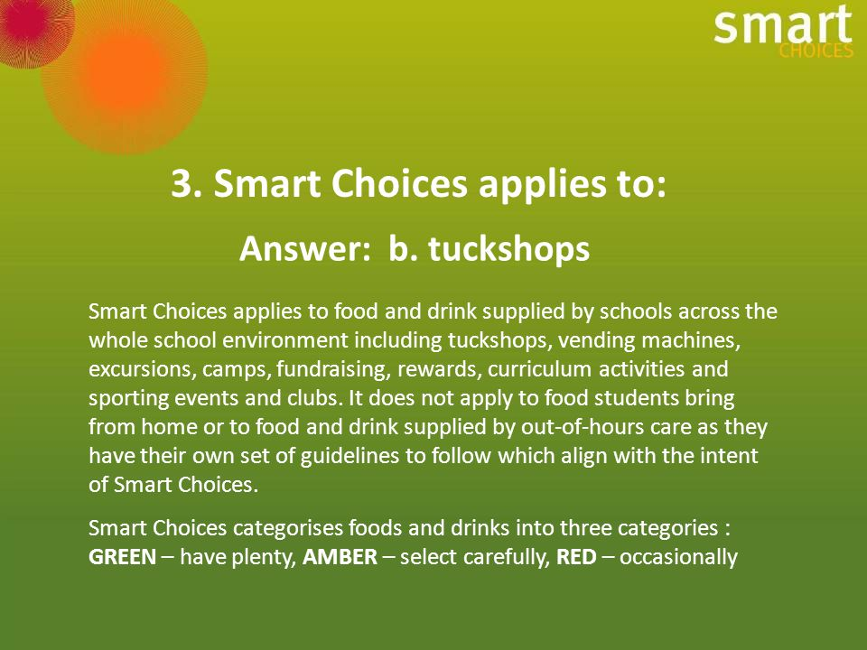 9.Which item is classified as RED under Smart Choices.