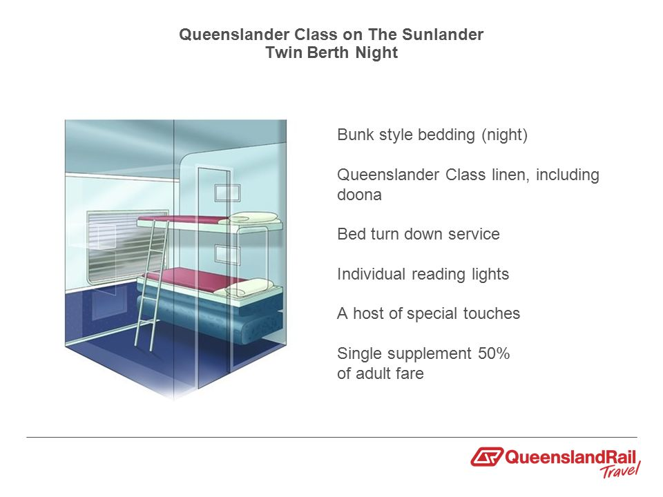 Queenslander Class on The Sunlander Twin Berth Night Bunk style bedding (night) Queenslander Class linen, including doona Bed turn down service Individual reading lights A host of special touches Single supplement 50% of adult fare