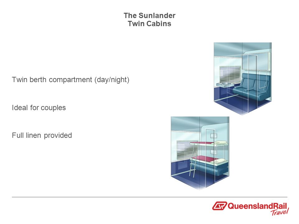 The Sunlander Twin Cabins Twin berth compartment (day/night) Ideal for couples Full linen provided